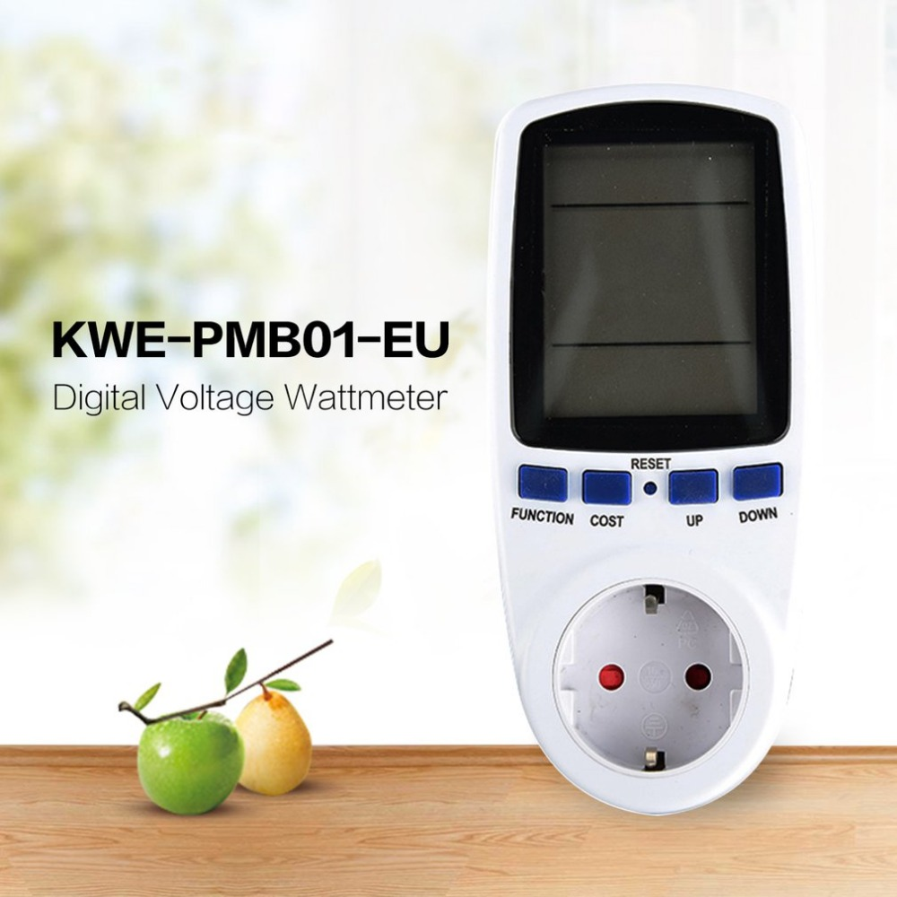 KWE-PMB01 Plug Socket Digital Voltage Wattmeter Power Consumption Watt Energy <font><b>Meter</b></font> AC <font><b>Electricity</b></font> Analyzer Monitor image