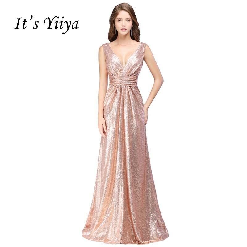It s YiiYa Sex V-neck Sequined Vintage Straight Elegant Zipper Dinner Party  Frocks Dresses Floor cd2dbb5f5b52