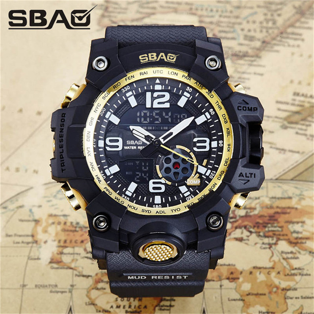 20c883358816 Relojes deportivos para hombre con doble pantalla analógica Digital LED  relojes de pulsera de cuarzo electrónicos
