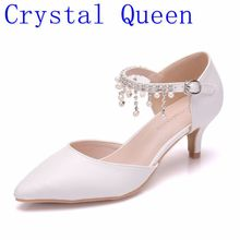 Crystal Queen Summer Women high heel Sandals Pointed Toe Thin Heels 5cm White Single Shoes Rhinestone Mary Janes Ladies Shoes