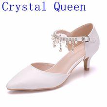 Crystal Queen Zomer Vrouwen hoge hak Sandalen Puntschoen Dunne Hakken 5 cm Wit Enkele Schoenen Strass Mary Janes Dames schoenen