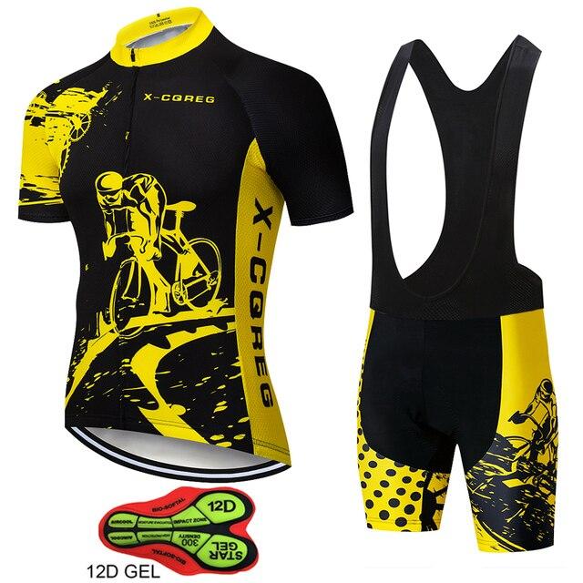 2020 equipe X-CQREG ciclismo roupas de bicicleta jérsei 12d almofadas gel dos homens ropa ciclismo verão topos ciclismo jerseys bicicleta shorts 1