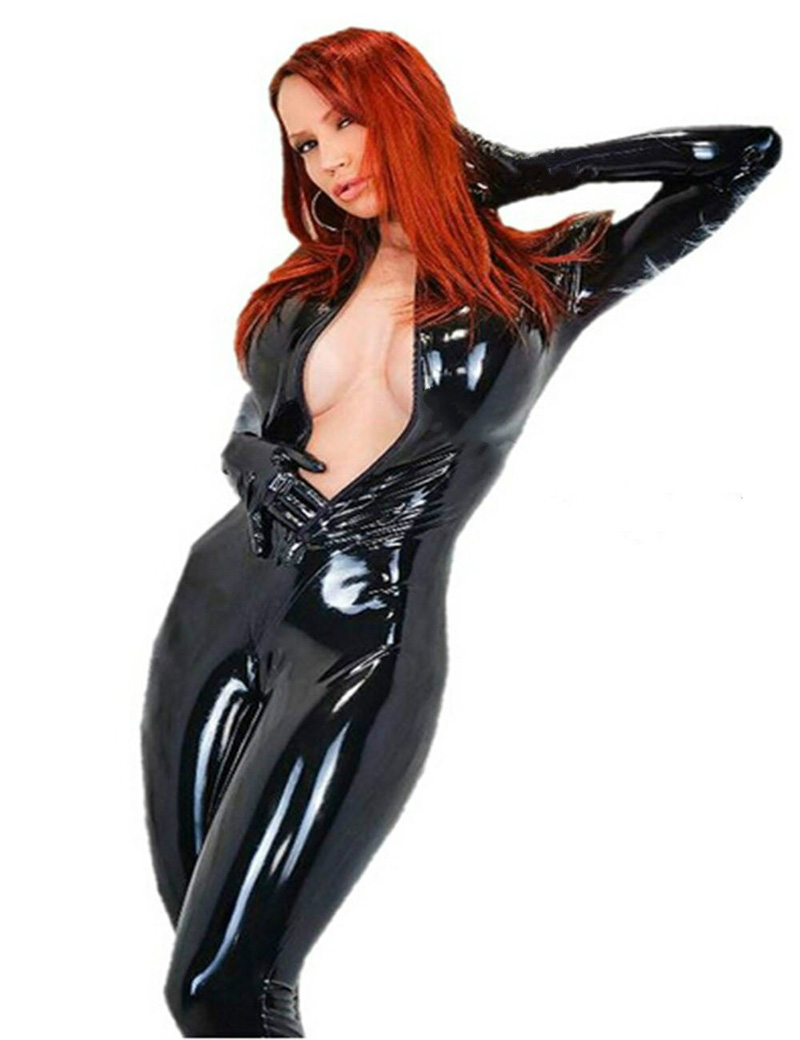 Xxl black leather gloves - Novelty Footed Women Black Faux Leather Jumpsuit Catwoman Wetlook Cosplay Costumes Zipper Gloved Catsuit Plus Size
