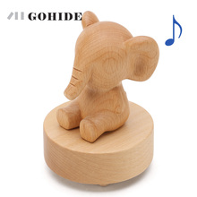 JUH 1pc Animal Type Rotating Musical Boxes Wooden Music Box Wood Crafts Retro Birthday Gift Vintage Home Decoration Accessories