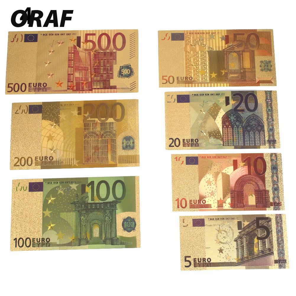 Commemorative Notes 5 10 20 50 100 200 500 EUR Gold High Quality Banknotes Gifts Collection Decoration 24K Gold Plated EUR
