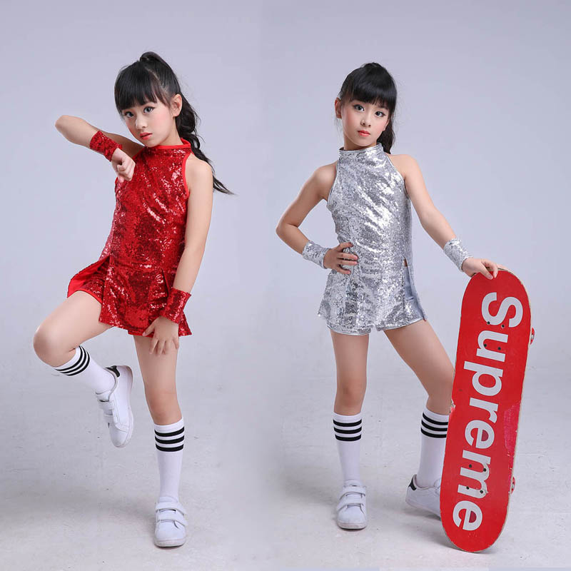 Children Stage Dancewear Kid Hip-Hop Hip Hop Jazz Dance Costume Suit Paillette Modern Dress Girl Cheerleading Clothes
