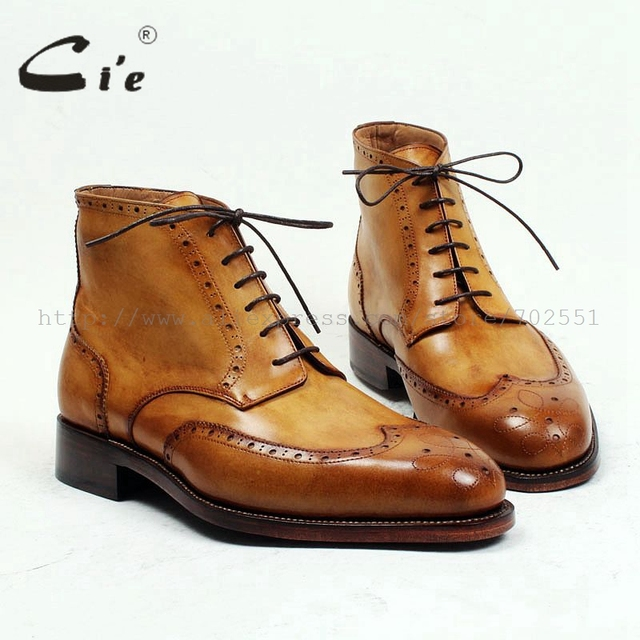 cie round toe full brogues medallion 100%genuine calf leather boot patina brown handmade leather lacing mens ankle boot  A98