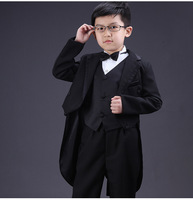 Boys Formal Dress Tuxedo Piano Performance Costume Flower Boy Birthday Wedding Suits 5pcs Jacket Vest Shirt