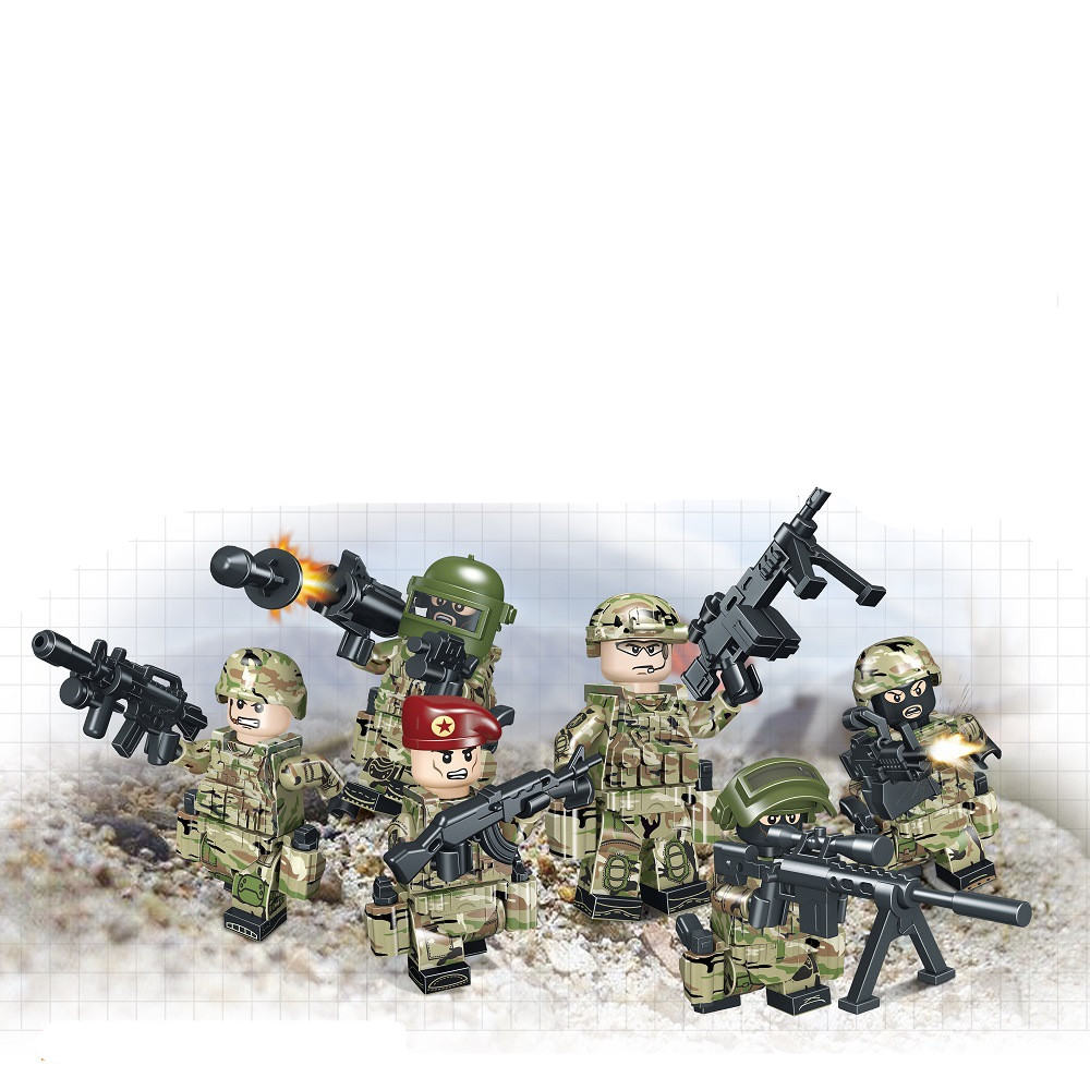 Model Building 6pcs Legoing Army Military Soldier Minifigure Ww2 Special Forces Gun Weapon Swat Building Blocks Bricks Figures Gifts Toys Blocks