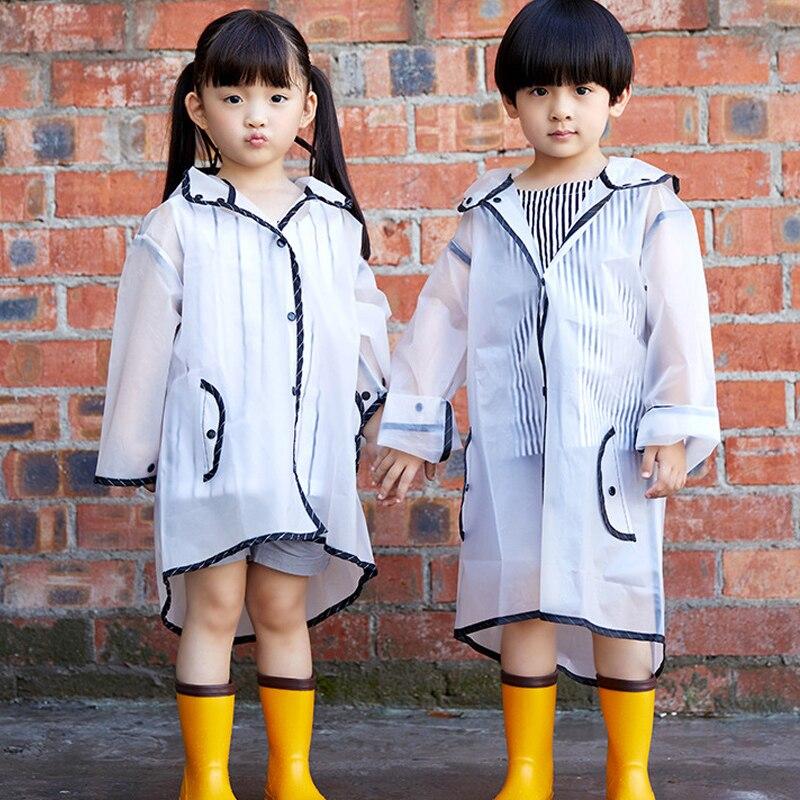Children's transparent waterproof raincoat portable hooded fringe environmental protection rain gear outdoor travel supplies