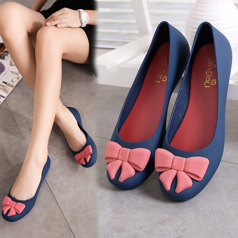 Charming Hot Fashion Woman Summer Jelly Shoes Wedges Low Heels Lady Beach Flats With Sweet Bowknot Fish Mouth Sandal 4 Colors women jelly shoes candy sandals luxury brand summer beach flats bowknot shoes casual lady fashional envirionmental shoes female