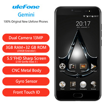 Original 5.5 inch Ulefone Gemini MTK6737T Quad Core 3GB + 32GB Android 6.0 Front Fingerprint Id 2 Rear Cameras GPS Smart Phone