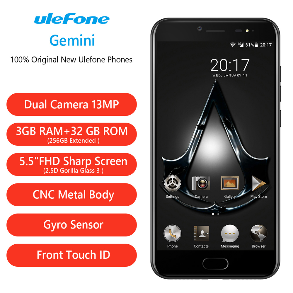 Original 5.5 inch Ulefone Gemini MTK6737T Quad Core 3GB + 32GB Android 6.0 Front Fingerprint Id 2 Rear Cameras GPS Smart Phone