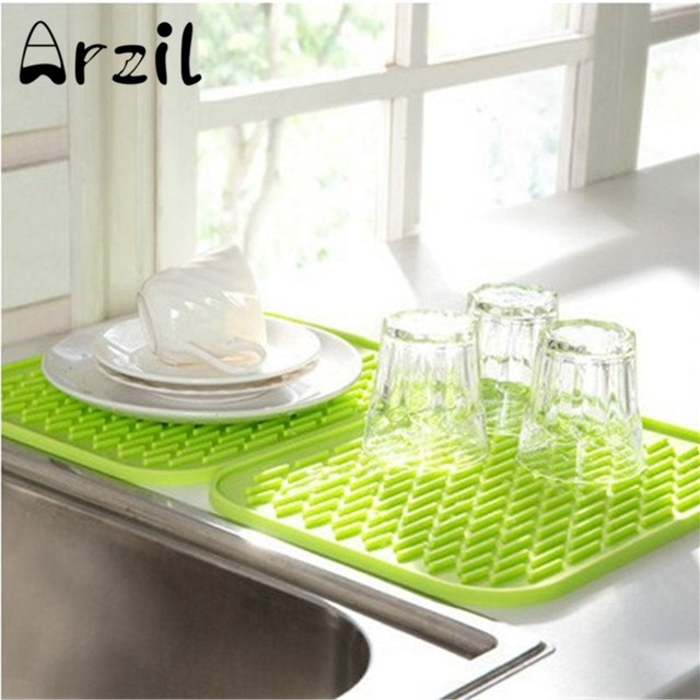 Kitchen Sink Mat Dishes Cup Dry Mat Rack Silicone Pot Holder Heat Resistant  Can Opener Non