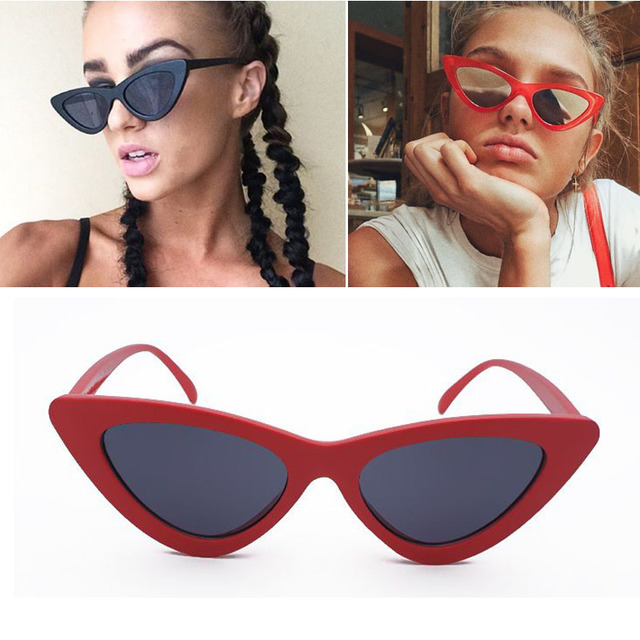 46cfa3688455 Long Keeper Women Brand Designer Small Cat Eye Sunglasses Hot Sale Black Red  Chic Sexy Lady
