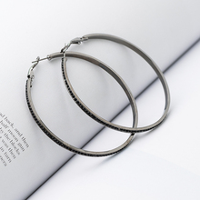 Top Earrings With Rhinestone Circle Earrings Simple Earrings Big Circle Gold Color Hoop Earrings For Women
