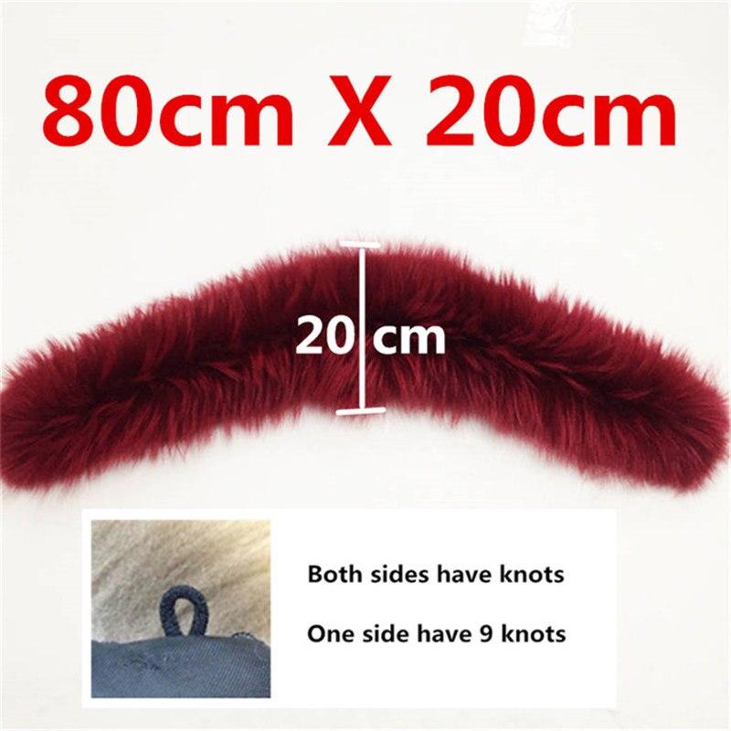 Натуральный меховой воротник, Зимний натуральный мех енота, женские шарфы, пальто, шарфы, роскошная Мужская парка, женская теплая 60 см, 70 см, 80 см,#2 - Цвет: Curve 8020 Wine Red