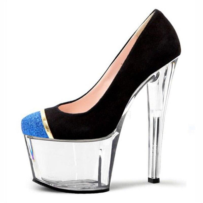 Alto 03 7 01 02 Plataforma Cm 17 Zapatos De Pulgadas 04 Tacón Super Bombas Solos Las Cristal Mujeres elevación UT0P4nZq
