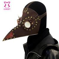 Corzzet Black PU Leather Rivet Spike Vintage Steampunk Plague Bird Mask Burlesque Halloween Plague Doctor Cosplay Accessories