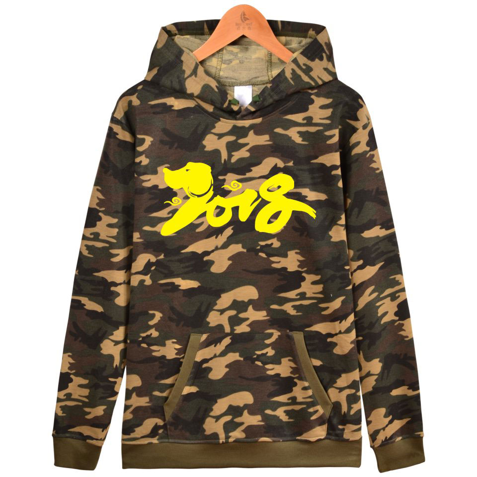 BTS 2018 New Year Of The Dog Camouflage Hooded Women Winter Chinese New Year Mens Hoodies Sweatshirt Casual Clothes