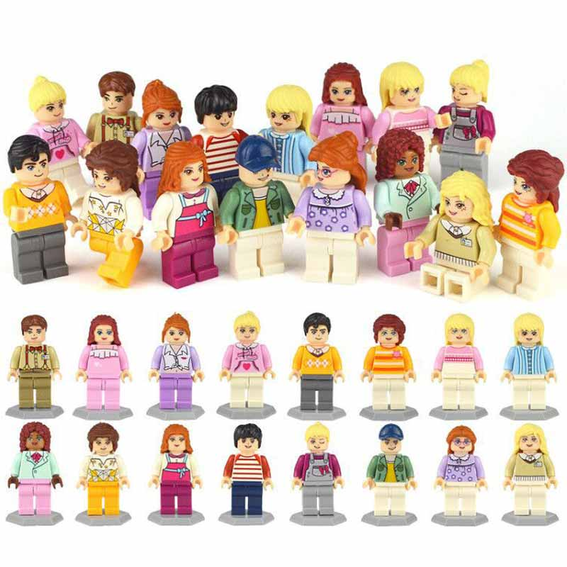 16pcs/lot Girls Friend Marvel Mini Building Block Sets Action Figures DC Model Bricks Toys Hobbies For Children Boys Gifts