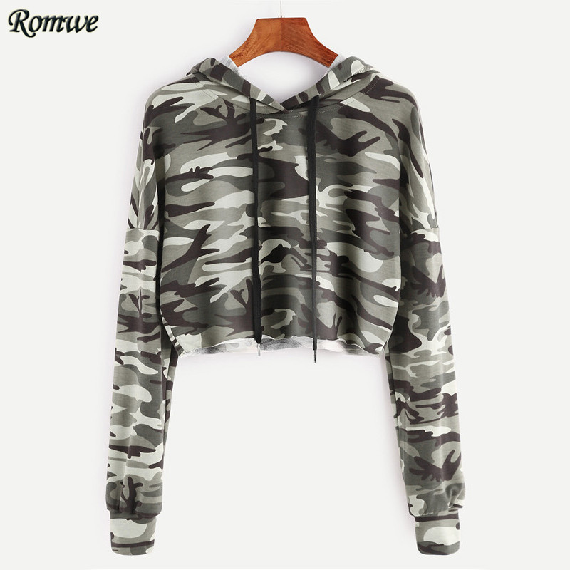 ROMWE Olive Green Camo Print Crop Hoodie Full Sleeve Sweatshirts Ladies  Hoodies for Women Autumn Casual Pullovers - Camo Womens Hoodie Promotion-Shop For Promotional Camo Womens