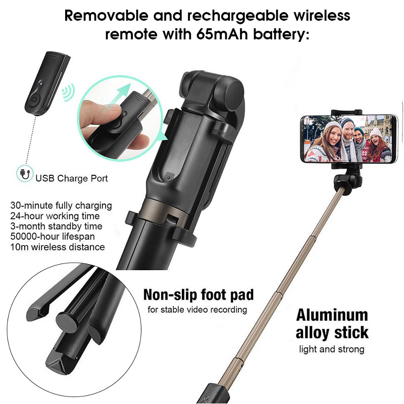 Image 5 - SAMTIAN Wireless Bluetooth Selfie Stick Tripod Foldable Handheld Monopod 360 Rotation Phone Stand For Photo Mobile Smartphone-in Selfie Sticks from Consumer Electronics