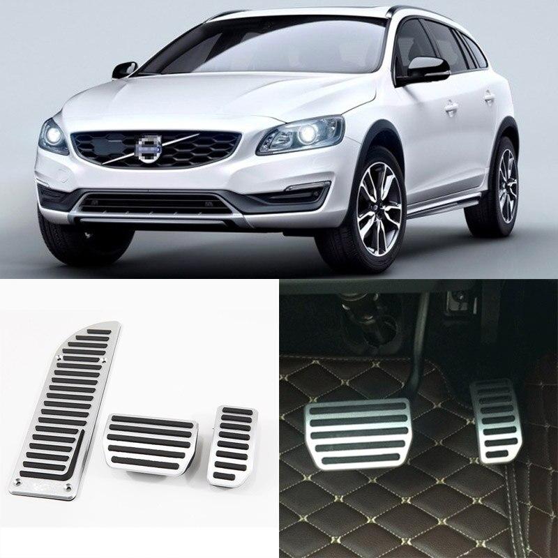 3 pièces Aluminium antidérapant repose-pied carburant gaz frein pédale couvercle pour Volvo V60 à 2012-2017