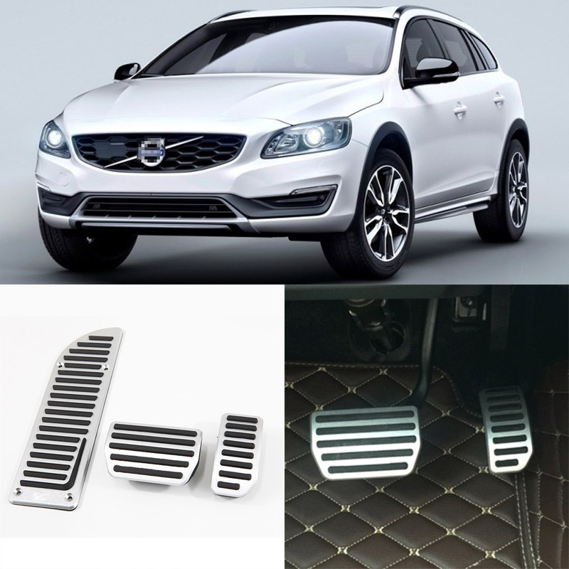 Brand New 3pcs Aluminium Non Slip Foot Rest Fuel Gas Brake Pedal Cover For Volvo V60 AT 2012-2017 brand new 3pcs aluminium non slip foot rest fuel gas brake pedal cover for volvo xc60 at 2015 2017