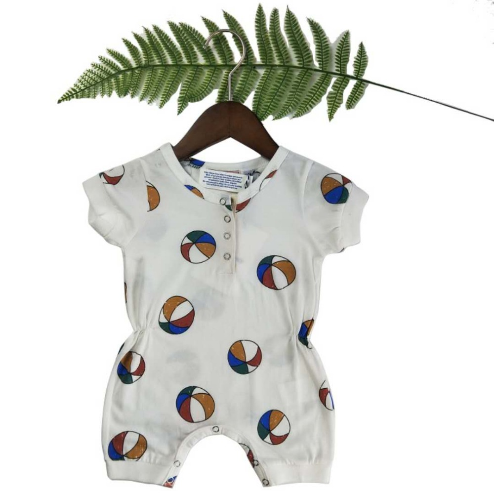 Lashojas basketball print short sleeve Rompers for baby kids onesie