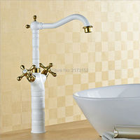 Free Shipping Grilled White Painted Tall Double Gold Handle Bathroom Faucet Long Mouth Swivel Brass Basin