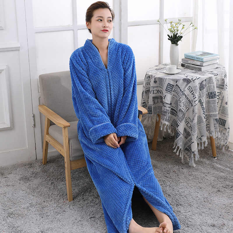 TOWELLING BATH ROBE Ladies Cozy zip up Long dressing gown Bath robe  housecoat Fleece Dressing Gown 62c147582