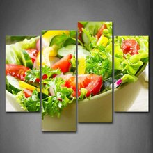 4 Panels Canvas Art Delicious Salad Food Picture Wall Print Painting Home Decoration No Frames Irregular Picture For Kitchen