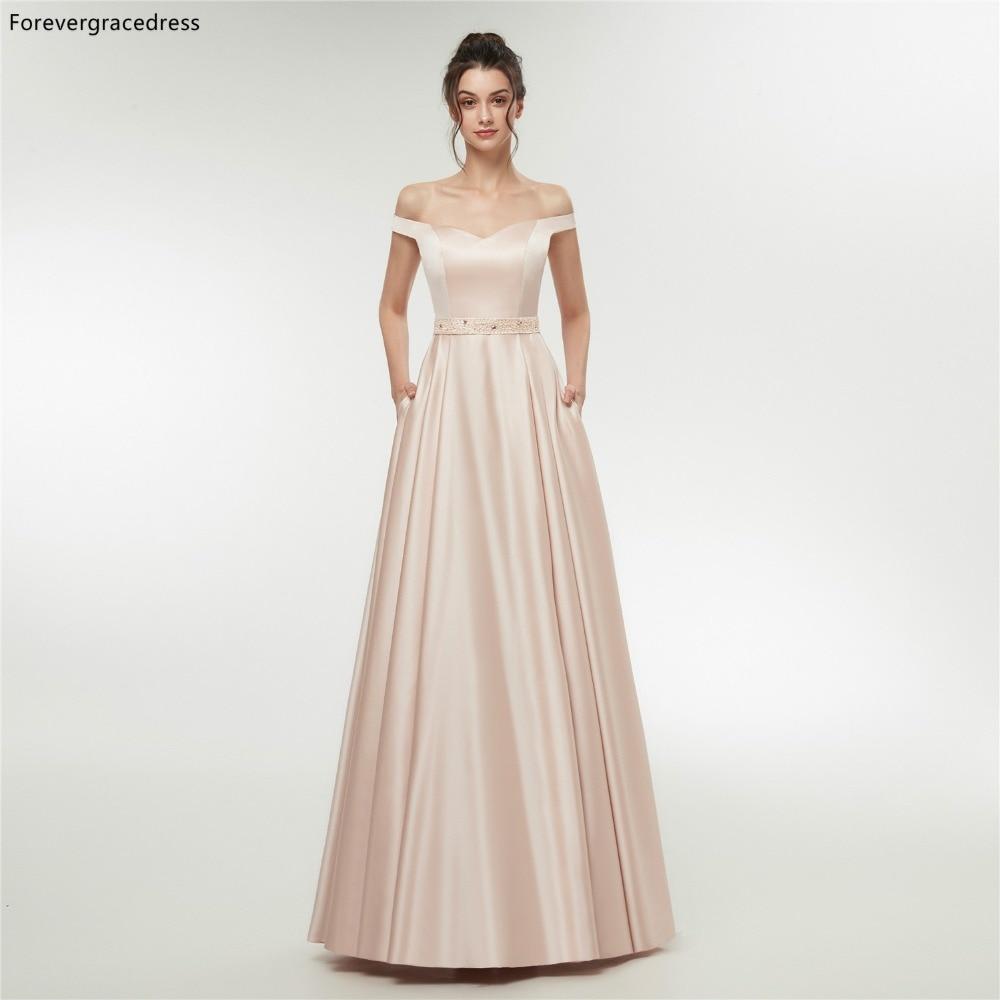 Forevergracedress Rose Off Épaule robes de soirée 2019 Une Ligne Perlée Formelle robe de fête grande taille fait sur mesure