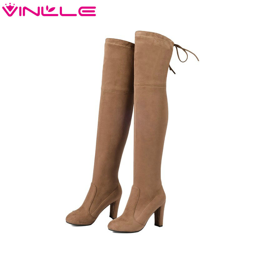 VINLLE 2016 Woman Boots Over The Knee Boots Sexy Square High Heel Solid Women Shoes Winter Warm Long Solid Boots Size 34-43 dijigirls new autumn winter women over the knee boots shoes woman fashion genuine leather patchwork long high boots 34 43