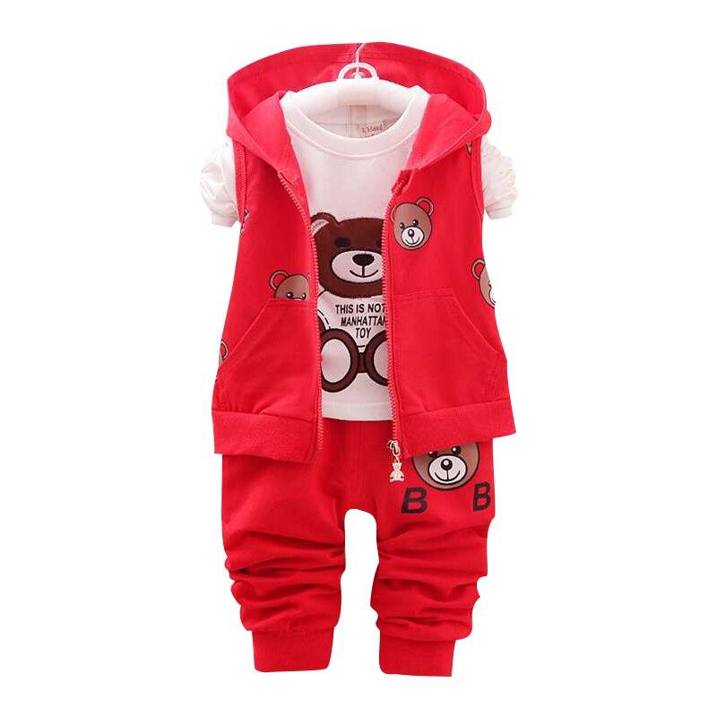 Boy's Clothing Sets Spring Baby Sets Cotton Boy tracksuits Kids sport suits Cartoon bear Coat+T shirt+Pants 3pcs
