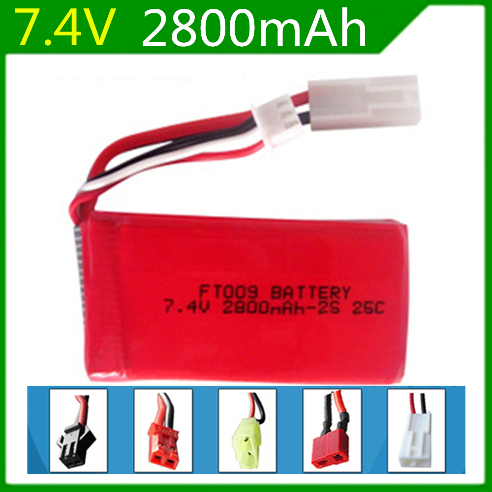 7.4V <font><b>2800mAh</b></font> <font><b>Lipo</b></font> Battery For Huanqi 948 FT009 2.4G Remote Control Boat speed boat Battery Li-po battery <font><b>2S</b></font> EL-2P Plug #25C image