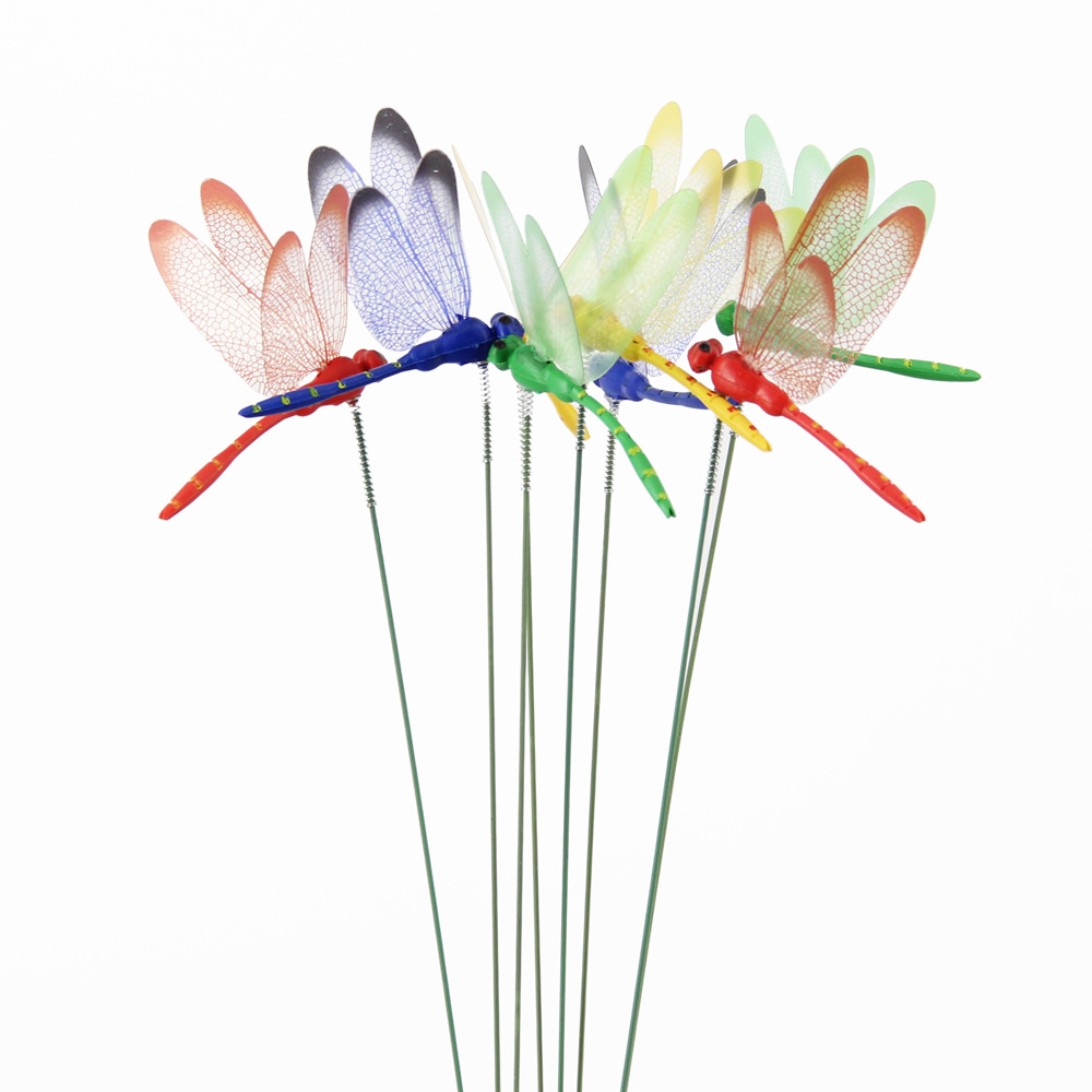 10pcs Artificial Dragonfly Butterfly Garden Decorations Simulation Dragonfly Stakes Yard Plant Lawn Decor Fake Dragonfly Decor