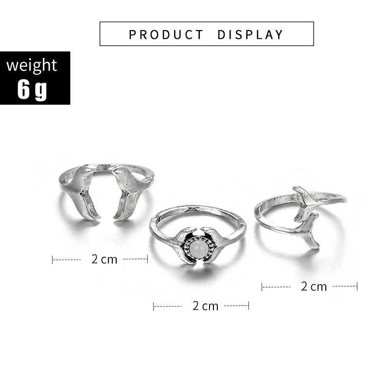 Модное геометрическое простое рыбий хвост с открытым хвостом серебряное кольцо в форме цветка из трех частей