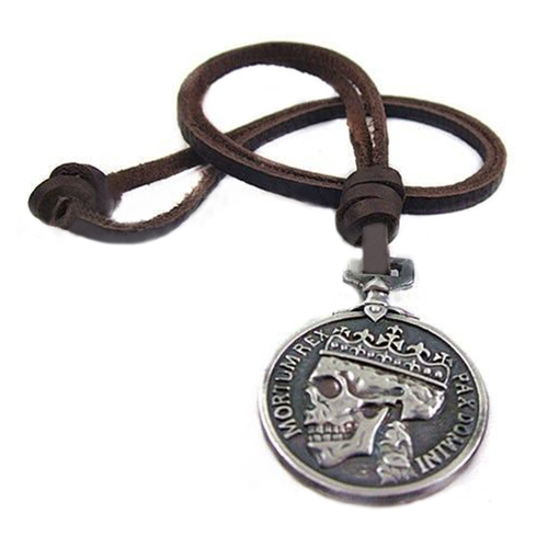 New Arrival Mens Charms Silver Skull Pendant Genuine Leather Fashion Vintage Necklace for Cloth Accessory 5BE3