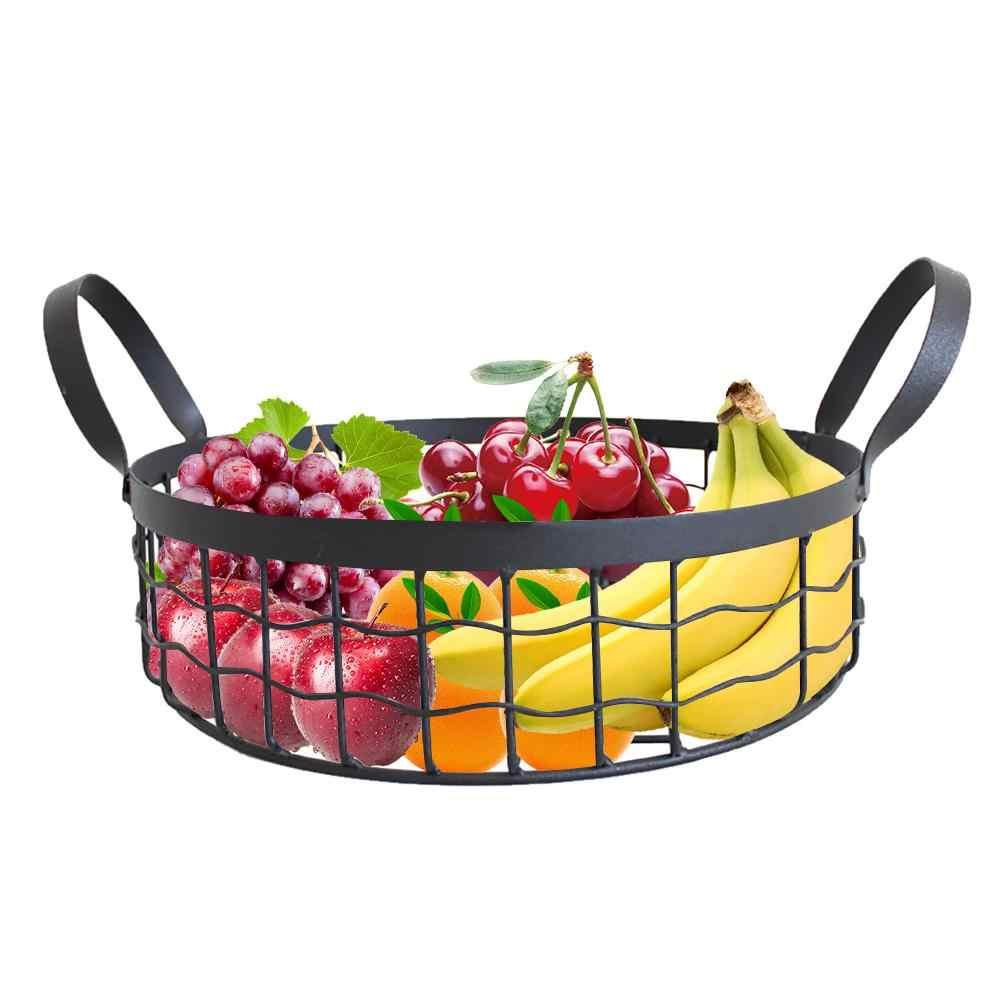 Fio de Ferro Cesta de frutas Rodada Oco Multifuncional Pão Cesta De Armazenamento Cesta De Armazenamento de Alimentos Cozinha Home Office