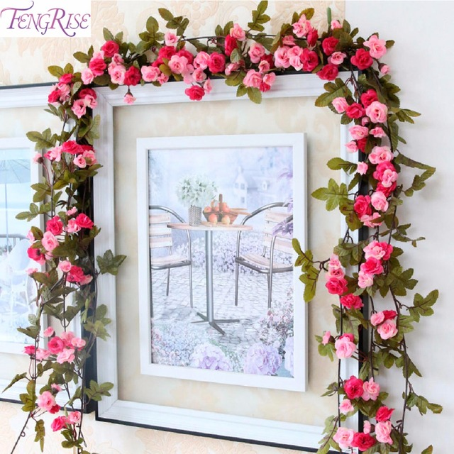 FENGRISE 2.3m Rose Artificial Flowers Fake Silk Flower With Green Leave Flowers Home Decoration Wedding Hanging Garland Supplies