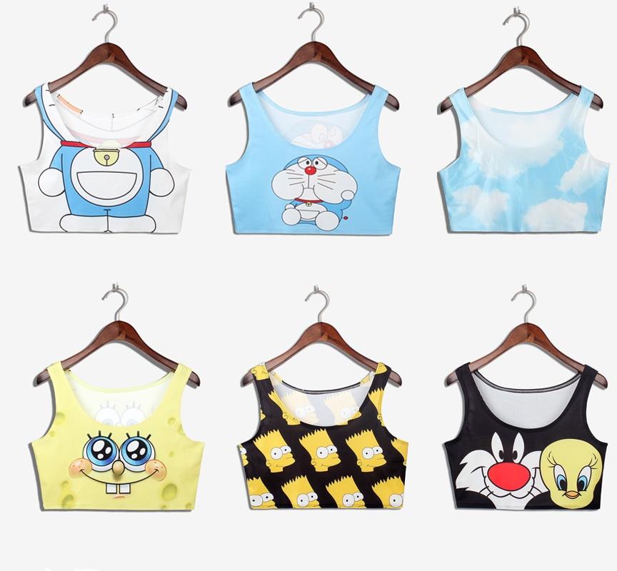 e8779d5df Regatas femininas 2015 Anime printed Doraemon SpongeBob Simpsons top  cropped black milk sexy strap blouse bustier crop top blusa