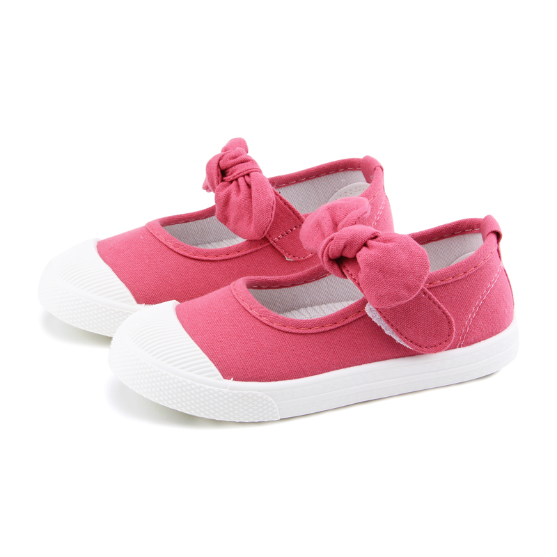 Baby Girl Shoes Canvas Casual Kids Shoes With Bowtie Bow-knot Solid Candy Color Girls Sneakers Children Soft Shoes 21-30 5
