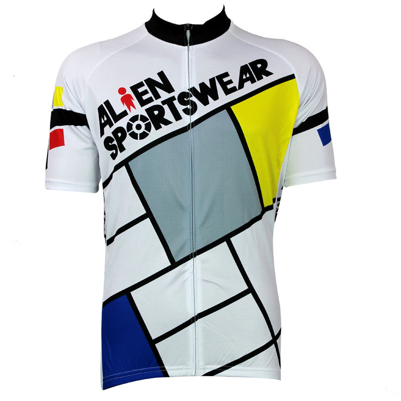 Cycling shirt bike equipment Lattice Pattern Men Summer Breathable top Sleeve Bicycle Clothing White Pro Cycling Jerseys bike to