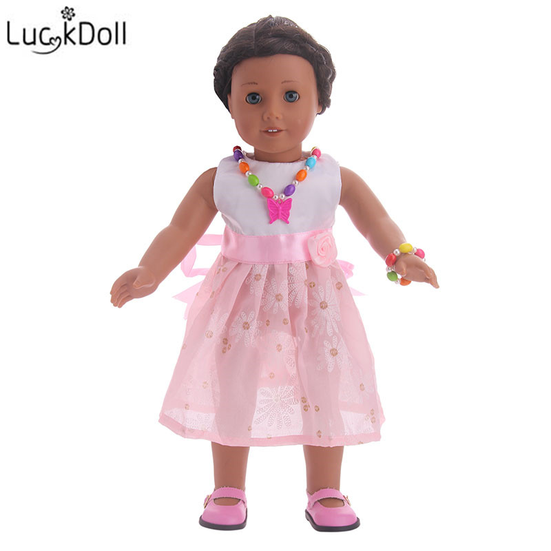 Luckdoll Noble Gorgeous Jewellery Doll Accessories Necklace + Bracelet for 18-Inch American Girl Doll Kids Like Doll Toy