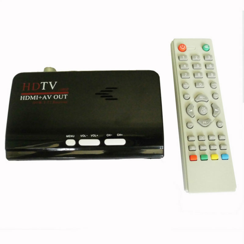 Digital Terrestrial HDMI DVB T T2 Protocol TV Box HDMI AV CVBS external TV Tuner Receiver With Remote Control for lcd monitor