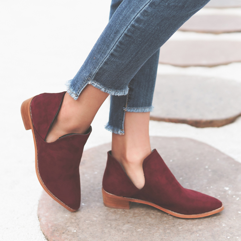 Ankle Boots V Shape Pointed Toe Chelsea Boots Low Heels Woman