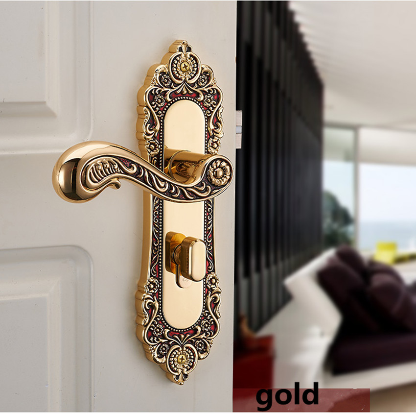 vintage style zinc alloy yellow bronze Double-sided handle lock gold bedroom kitchen ,bookroom wooden door lock ,top quality