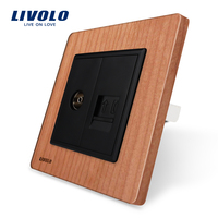 Manufacture Livolo Cherry Wood Panel 2 Gangs Wall TV Tel Socket Outlet VL C791VT 21 Without